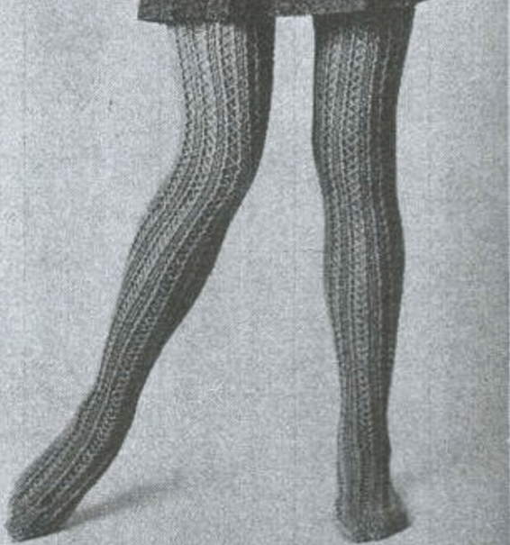 very old picture from 1970, visible legs with elastic tights